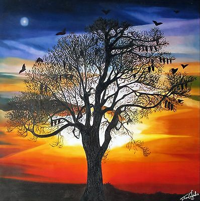Aboriginal contemporary Print Art Painting Jane Crawford  fruit bat sunset  24""
