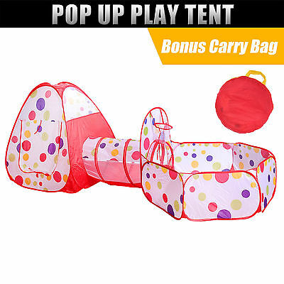 Pop Up Play Tent Kids Toddlers Tunnel Cubby Playhouse Indoor Outdoor Fun Toy
