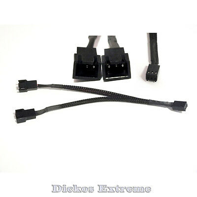 "6""/15cm 3 PIN FAN Y SPLITTER CABLE BLACK SLEEVED"