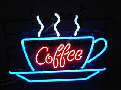 """New Coffee Neon Sign Display Cafe Beer Bar Pub Mancave Garage Real Light 17""""X14"""""""
