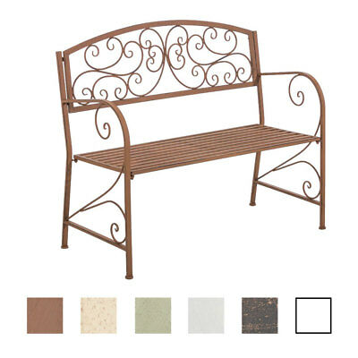 Garden Bench AZAD Iron Shabby Metal Seat Antique Bronze White Brown Furniture