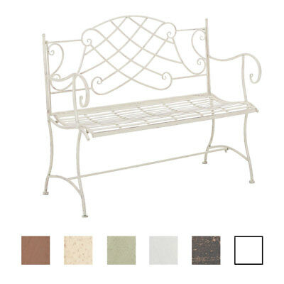 Garden Bench SELENA Iron Shabby Metal Seat Antique Bronze White Brown Furniture