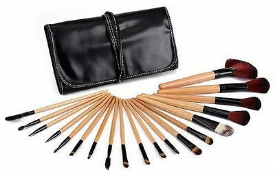 Glow 19 Piece Wooden Handle Professional Kit Make up Brushes Set in Black Case
