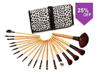 Glow 19 Piece Wooden Handle Professional Makeup Brushes in Leopard Print Case