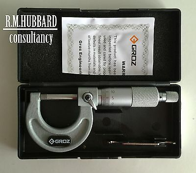 Micrometer, external 0 to 25mm Quality tool by Groz.