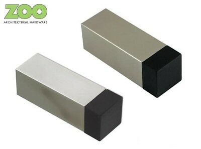 Solid Square Projection Door Stop 65mm - Satin or Polished Stainless Steel