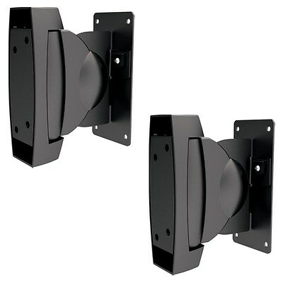 Speaker Wall Mounts Pair Tilt Swivel Brackets Full Motion Adjustable Black