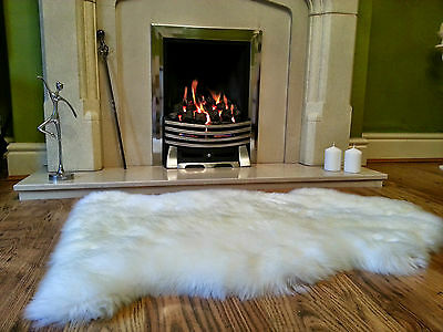 Luxurious Sheepskin Fur Rug  Ivory Pale Cream Hides Skins Rugs Single