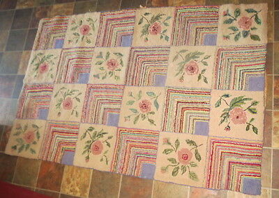 "ANTIQUE Large HOOK RUG 60"" x 40"" Floral Square (ROSES) Stripe Squares FABULOUS!"