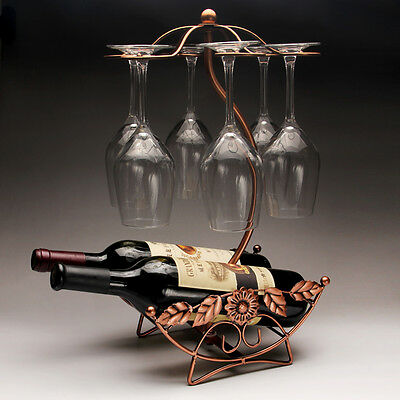 Wine holders glass rack with leave elegant hold 6 glasses & 2 wines (3 colors)