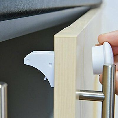 Child Safety Cupboard Locks 4 Locks + 1 Key Safety Effec Magnetic Adhesive Lock,