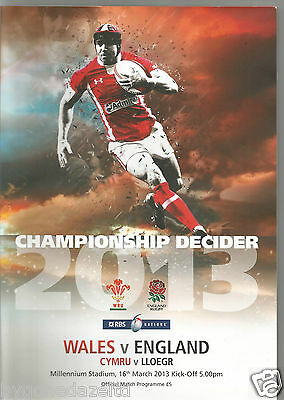 WALES v ENGLAND 16th March 2013 RBS 6 NATIONS RUGBY PROGRAMME