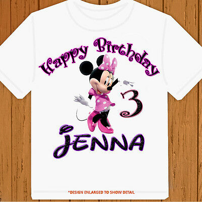 Minnie Mouse T Shirt Design | Happy Birthday Minnie Mouse Personalized Pick Name Age Birthday