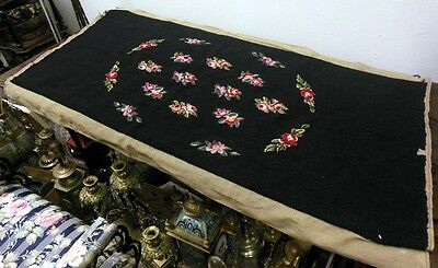 Vtg Long Needlepoint Tapestry Piano Bench Hiawatha Heirlooms Roses Flowers
