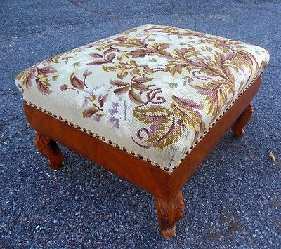 Antique Large Ottoman Stool Bench Empire Floral NEEDLEPOINT Tapestry 19th C