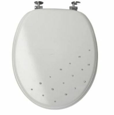 Brand New White Diamante Crystal Bling Mdf Toilet Seat By Sabichi