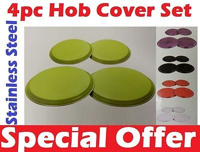 4pc Stainless Steel Electric Hob Covers Cooker Metal Ring Lid Protector Set New