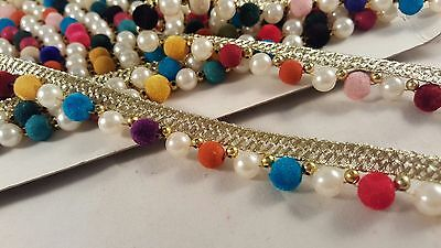 1.5cm- 1 meter gold ribbon with pearls and colourful beads lace trimming 4 decor