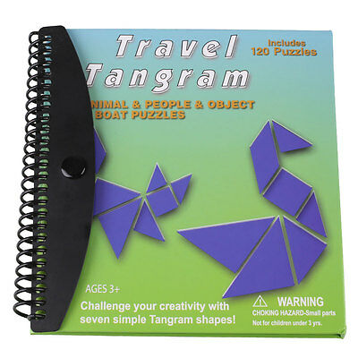 120 Puzzles Magnetic Tangram Toys Children Kids IQ Educational Game Magic Book