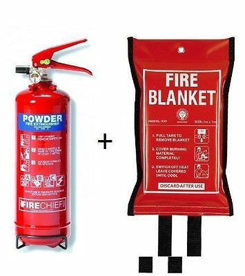 1 Kg Dry Powder Abc Fire Extinguisher + Fire Blanket Home Office Kitchen