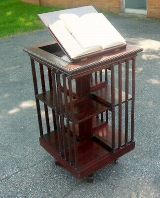 Antique DANNER Mahogany Revolving BOOKCASE Lectern Bookstand Library