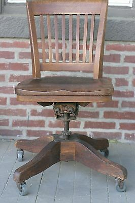 Outstanding Antique Oak Desk Office Chair Swivel Wheels 1929 Marble Gmtry Best Dining Table And Chair Ideas Images Gmtryco