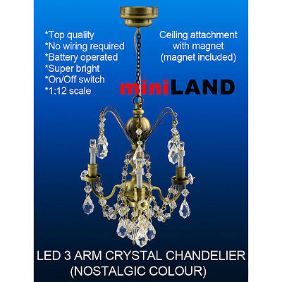 Crystal Chandelier 3arms SUPER bright battery LED LAMP Dollhouse miniature light