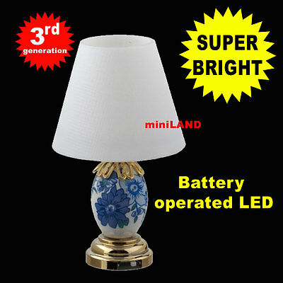 Silver Hanging Oil SUPER bright battery LED LAMP Dollhouse miniature light on//of