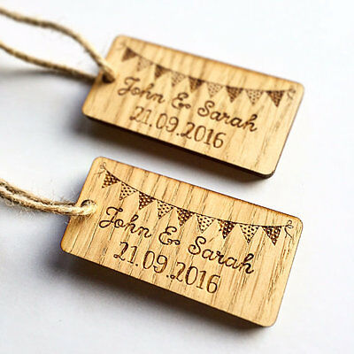 Personalised Wooden Bunting Table Decorations Vintage Rustic Wedding Favours