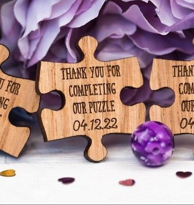 Personalised Wooden Puzzle Table Decorations Jigsaw Wedding Favours 10TD