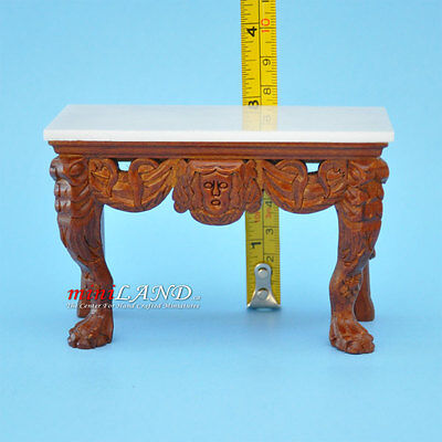 Quality Early 19Th Century Walnut Table With Real Marble Top Dollhouse Miniature