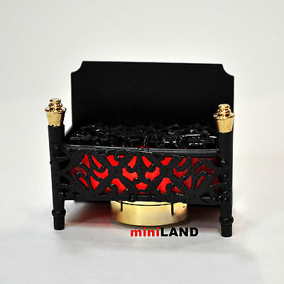 Fire Grate LED Fireplace Dollhouse Glowing Embers light miniature flicker red