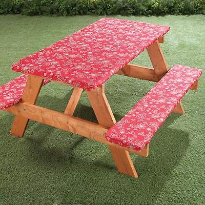 3pc Picnic Table Bench Seat Floral Flower Cover Elastic Fitted Vinyl