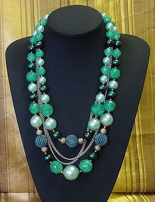 Vintage Hand Made Necklace Four Strand Mixed Aqua Green Beads with Chains 66