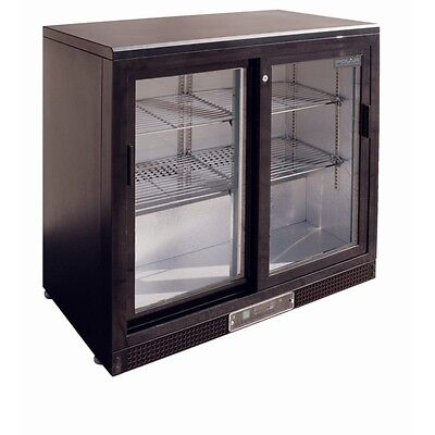 Polar DL816-A Refrigerated Cold Bar Display Fridge Double Sliding Doors 210Lt