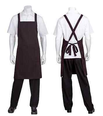 Chef Cook Waiter Chef Works Red/Black Pinstripe Crossover Back Bib Apron w/pock