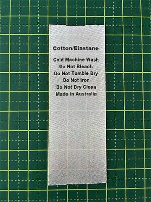 Care/Wash Instruction Clothing Labels -  Cotton/Elastane