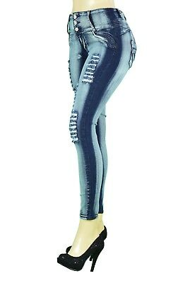 High Waist  Stretch Push-Up Colombian  Style Skinny Jeans in DK. BLUE LA087