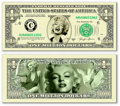 classic Marilyn Monroe Million Dollar Collectible Funny Money Novelty Note