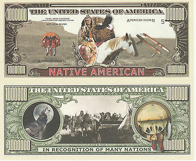 Native American Indian Million Dollar Bill Collectible Funny Money Novelty Note