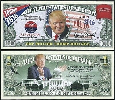Donald Trump for President Million Dollar Collectible Funny Money Novelty Note