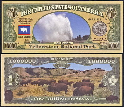 Yellowstone National Park Million Dollar Bill Collectible Novelty Note