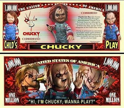Chucky of Child's Play Million Dollar Novelty Collector Bill Note