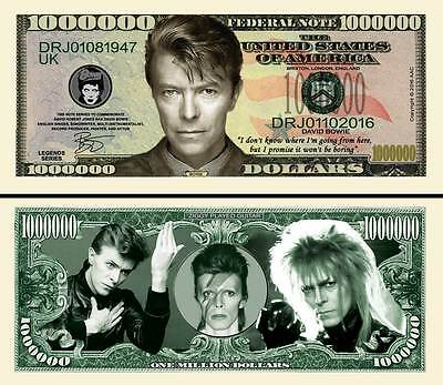 David Bowie Million Dollar Collectible Funny Money Novelty Note