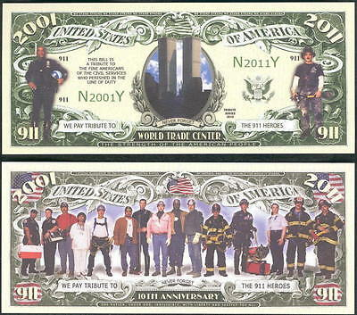 10th Anniversary of 9-11 Heroes Dollar Bill Collectible Novelty Note