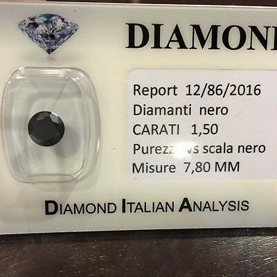 DIAMANTE NERO CARATI 1.50  TONDO SUPERIORE BRILLANTISSIMO L.to 2.00
