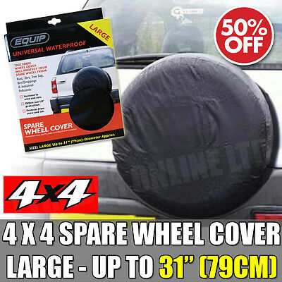 """Large 4 X 4 Spare Wheel Cover upto 31"""" Inch Black Elasticated Tyre Cover New"""