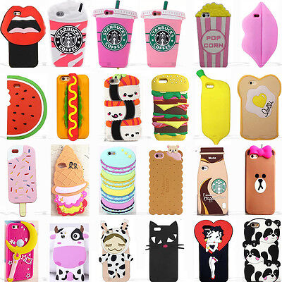 For iPhone 5 6 7 8 X XS Max Hot 3D Cool Cute Sweet Food Soft Silicone Case Cover