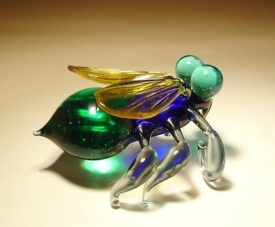 "Blown Glass ""Murano"" Art Animal Figurine Insect FLY with Green Eyes"