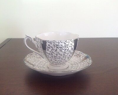Queen Anne Silver Lace Tea Cup & Saucer